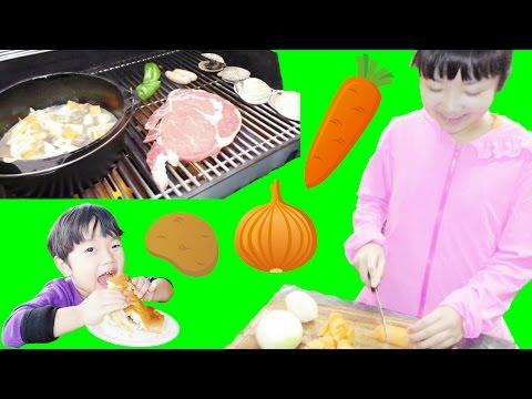 ★キャンプごはん!「ひめちゃん初めての料理~!」バーベキュー&ビーフシチュー★For the first time of cooking★