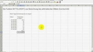 KurtzKurse: Die Excel Funktion MITTELWERT zur Berechnung des arithmetischen Mittels