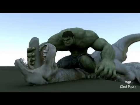 Hulk Vs T-rex - Creature Seq WIP HD