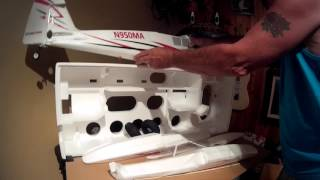 e flite timber new rc plane unboxing iam so excited