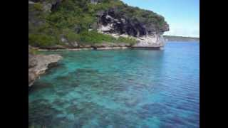 Coral reef and blue water at the Cliffs of Jokin on Lifou (in the Loyalty Islands)