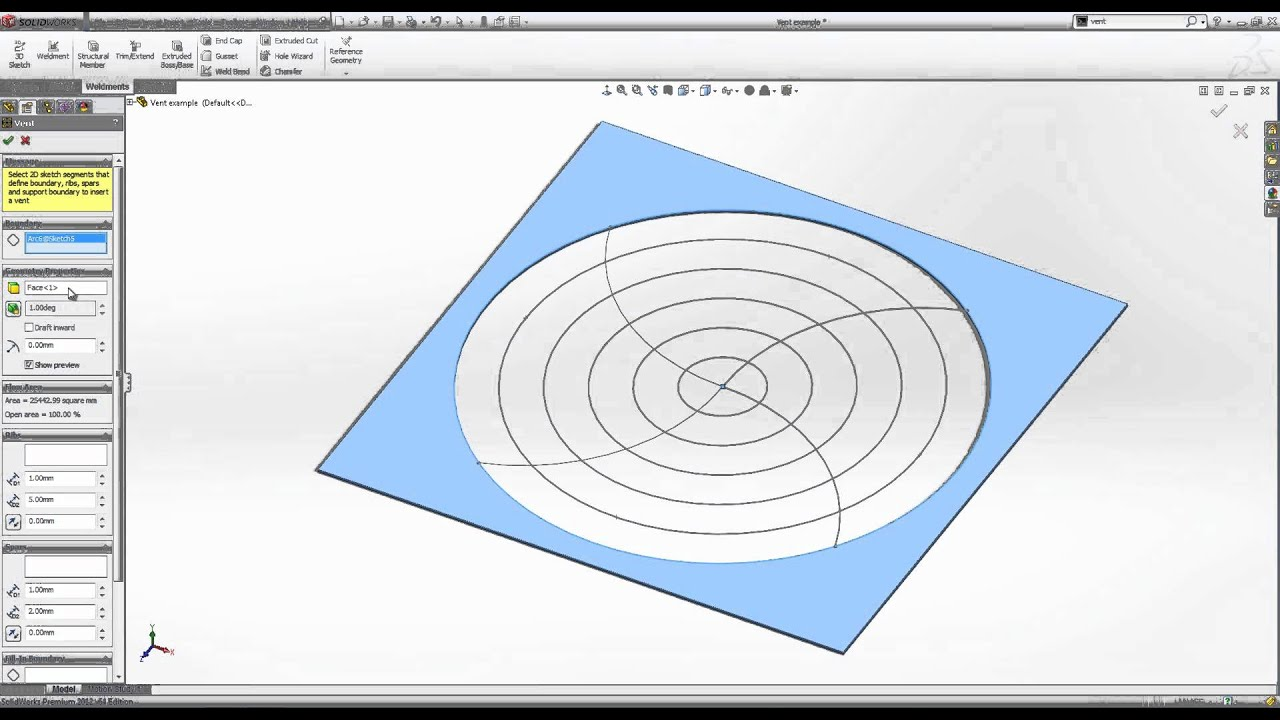 The Vent Feature Tool In Solidworks Youtube