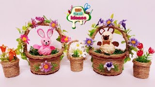 How to make Bunny and Teddy In a Basket at Home | No Sew | DIY Cute | Cute bunny and teddy baskets