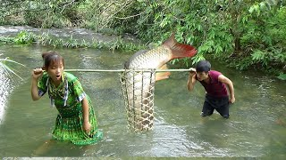 Survival skills: Primitive skills catch fish  Yummy cooking fish on stone  Eating delicious