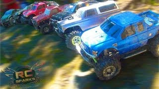RC ADVENTURES - Group Trail Run - 1:10 Scale 4x4 Trucks - Krazy Joe, Crawler Ted, JEM & More!