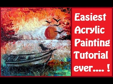 How to paint easiest acrylic painting step by step for Step by step painting tutorial