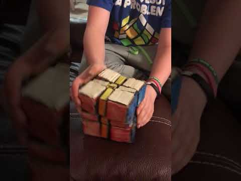 Rubik's Cube made out of cardboard box
