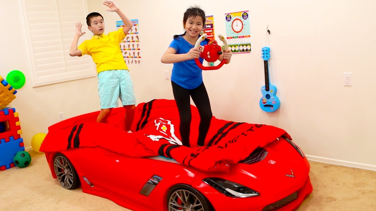Jannie Pretend Play Driving Car Bed for Kids | Fun Videos for Children about Beds
