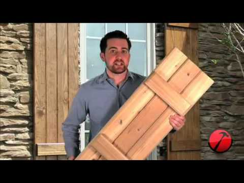 Board-n-Batten Wood Shutters - YouTube on house windows with shutters, custom primitive shutters, cowboy with gun holes window shutters, open shutters,