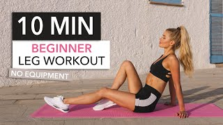 10 MIN BEGINNER LEG WORKOUT .. with breaks! Booty, Thighs & Hamstrings / No Equipment I Pamela Reif