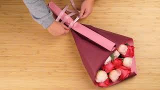 Упаковка букета в крафт бумагу