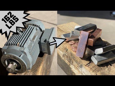 162LB Monster Motor Melt Down - Trash To Treasure - ASMR Metal Melting - BigStackD Casting