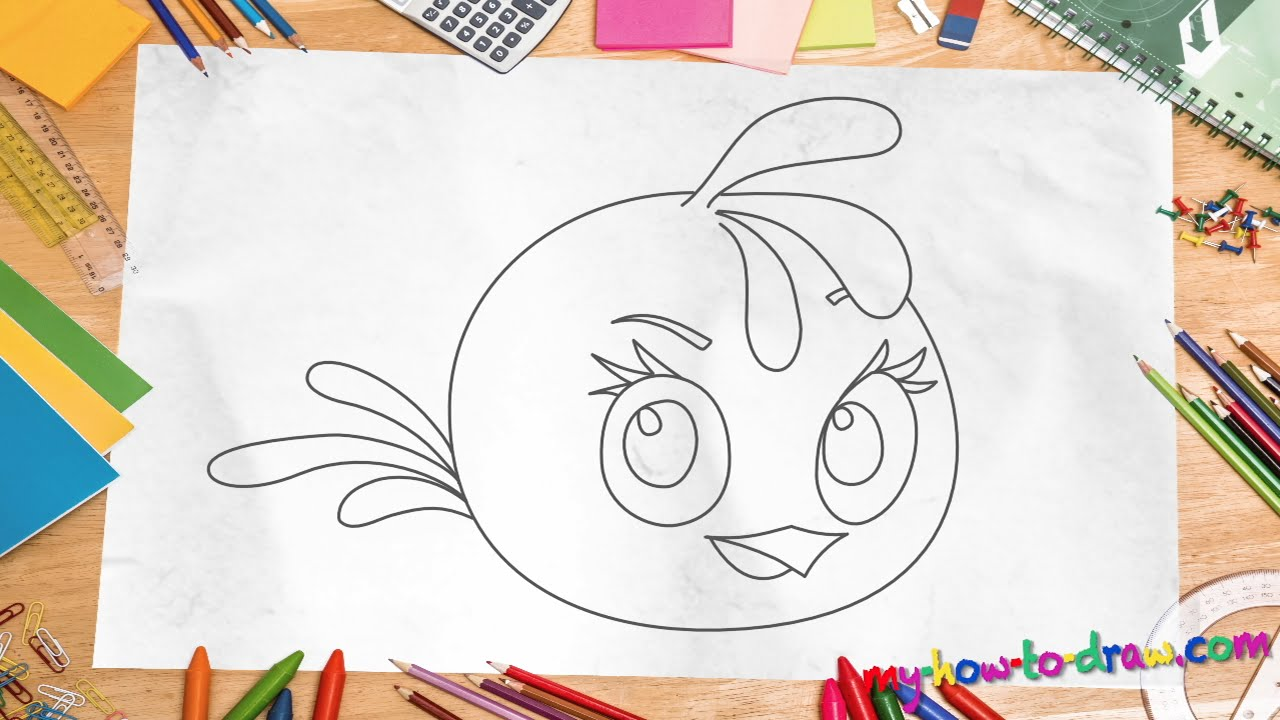 how to draw angry birds stella easy step by step drawing lessons for kids youtube - Fun Drawings For Kids
