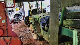 Willys Jeep rescue.... wedged in a barn for 30 years...let's try and lift it out!!
