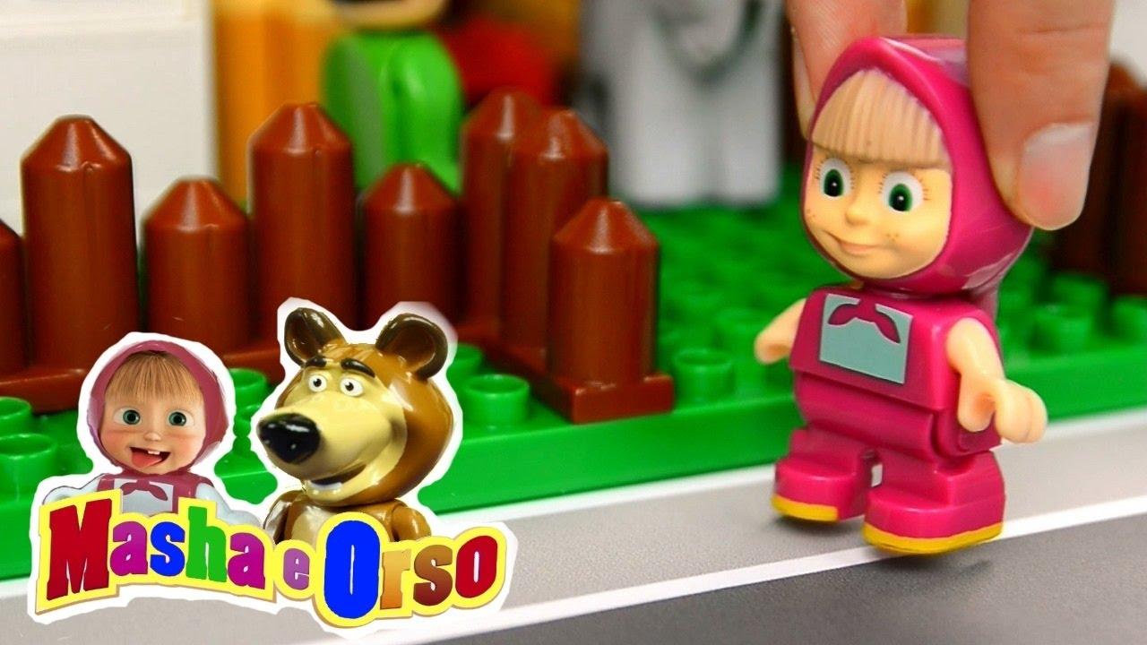 Masha e orso episodio andiamo allo zoo mattoncini