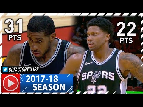 LaMarcus Aldridge & Rudy Gay Full Highlights vs Heat (2017.10.25) - 53 Pts Total