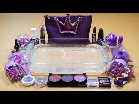 """PURPLE"" Mixing ""PURPLE"" EYESHADOW,Makeup,Parts and glitter Into Clear Slime! ""PURPLE SLIME"""