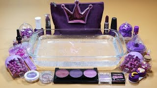 """""""PURPLE"""" Mixing """"PURPLE"""" EYESHADOW,Makeup,Parts and glitter Into Clear Slime! """"PURPLE SLIME"""""""