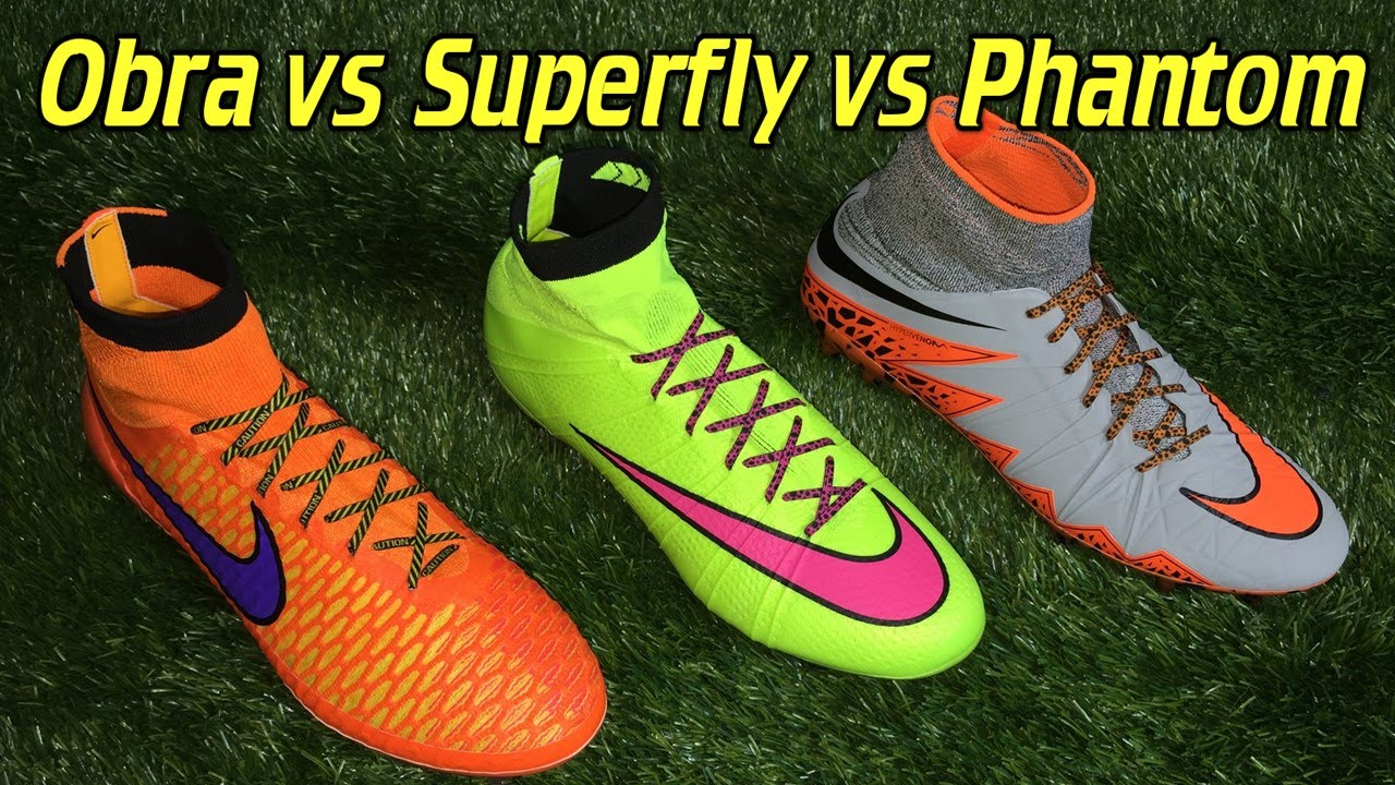 quality design 0676a 35a89 Nike Mercurial Superfly 4 vs Hypervenom Phantom 2 vs Magista Obra -  Comparison + Review
