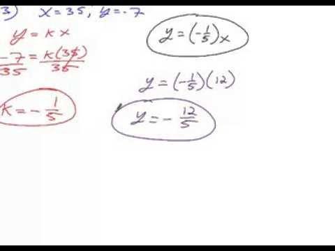 Algebra 2 Chapter 2 Section 5 Homework Model Direct Variation