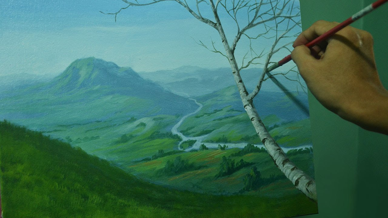 Acrylic Landscape Painting Tutorial Overlooking View