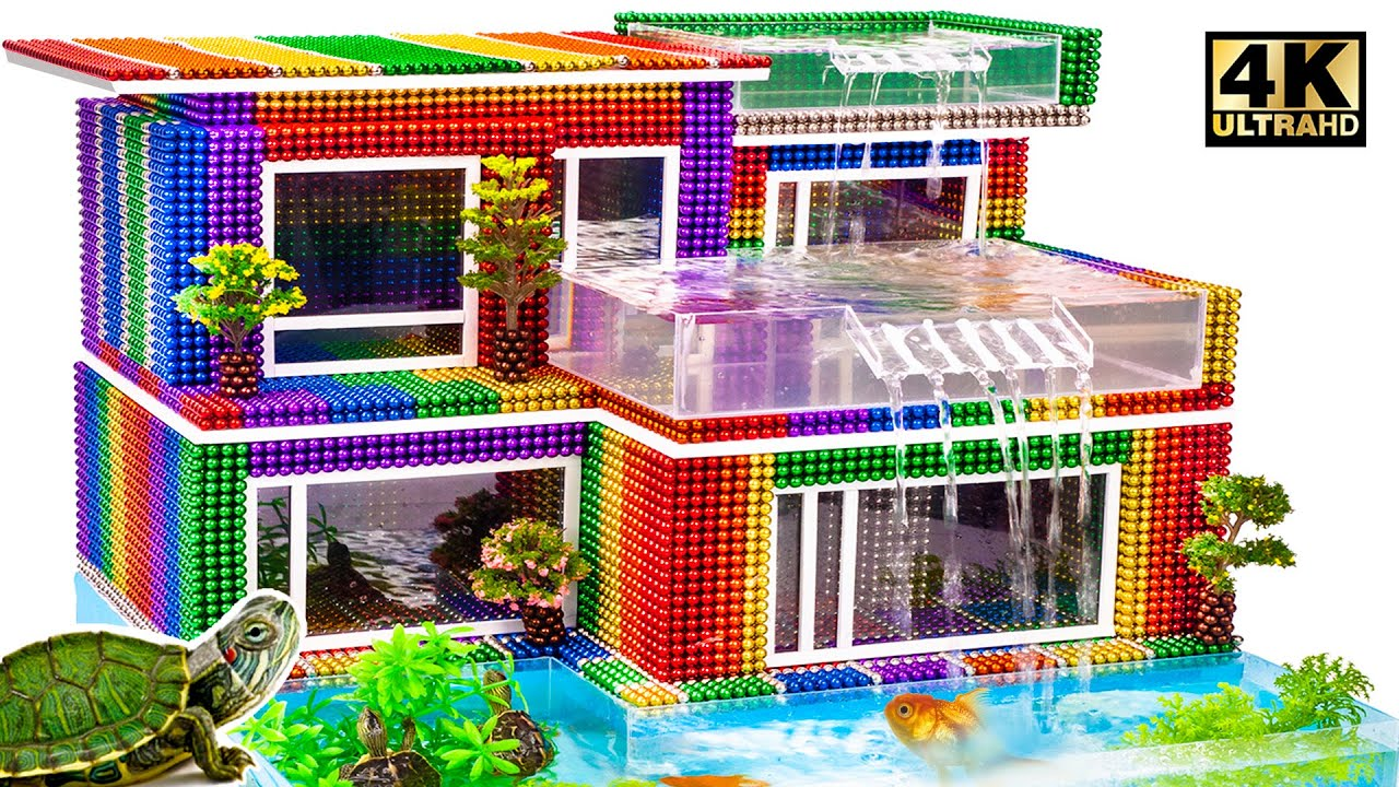 DIY - Build Amazing 3-Floor Waterfall Aquarium From Magnetic Balls (Satisfying ASMR) | MW Series