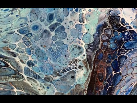 Terra, Two Pours, Fluid Acrylics Pouring, cells, silicone, using XIM, dirty pour, flip cup