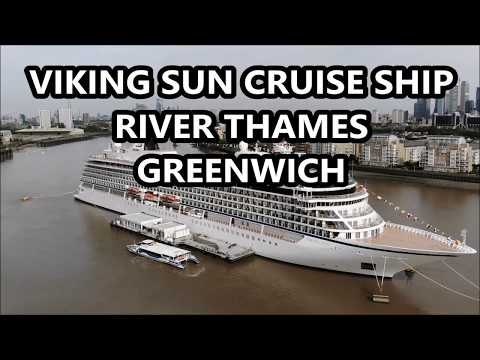 VIKING SUN CRUISE SHIP RIVER THAMES GREENWICH, DRONE FOOTAGE