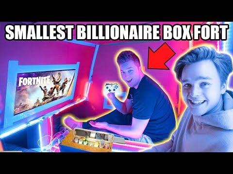 WORLDS SMALLEST BILLIONAIRE BOX FORT 24 HOUR CHALLENGE 📦💰 Fortnite, Beyblades, Xbox One & More!