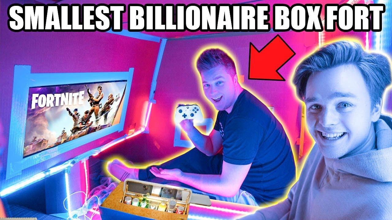 Worlds Smallest Billionaire Box Fort 24 Hour Challenge