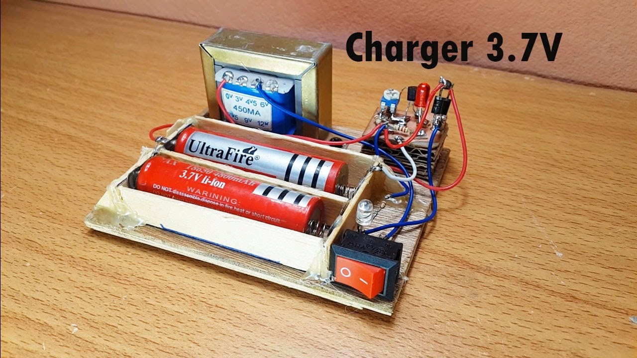how to make easy charger battery 3 7v circuit and monitor when full charged charger 3 7v diagram [ 1280 x 720 Pixel ]
