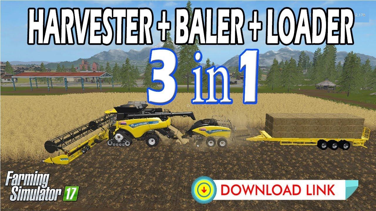 Farming Simulator 17 | HARVESTER + BALER + AUTO LOADER !!! JUST USING ONE  HARVESTER NEWHOLLAND &LINK
