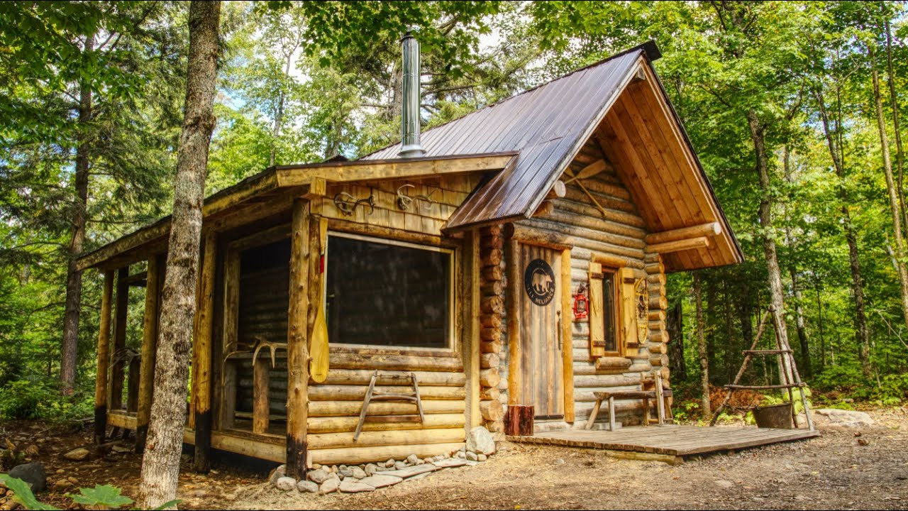My Self Reliance Screened Porch on the Log Cabin | Off Grid Sauna and Bathhouse
