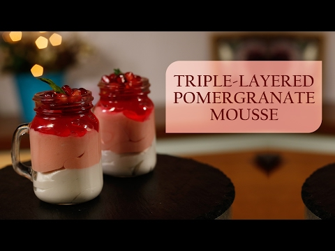Triple-Layered Pomegranate Mousse Dessert ∣ Meghna's Food Magic ∣ Pure Magic # 6