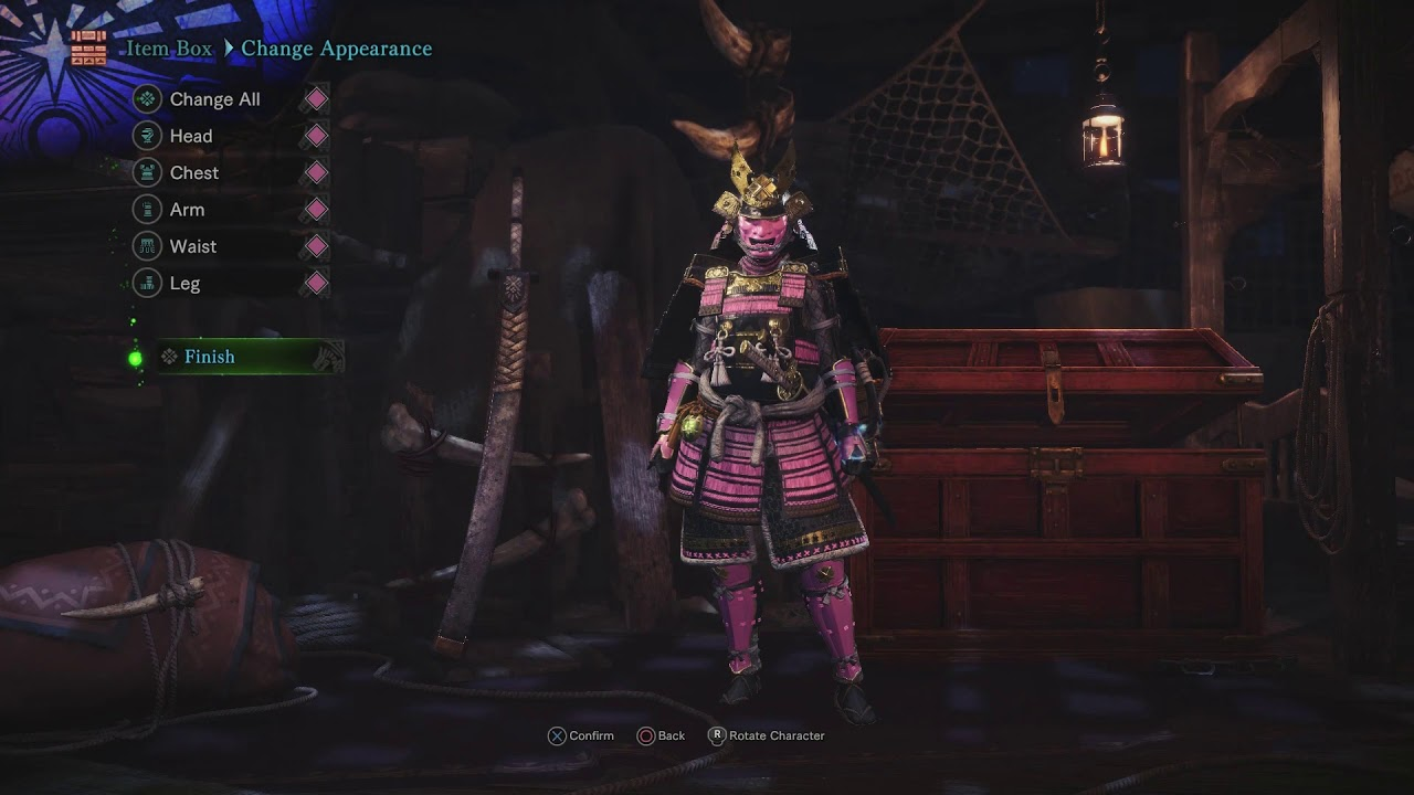 monster hunter world - how to equip samurai outfit - youtube