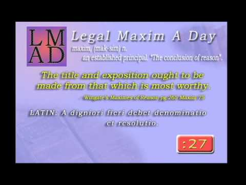 "Legal Maxim A Day - Jan. 23rd, 2013 - ""The title and exposition..."""