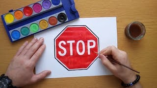 How to draw a STOP sign (coloring pages, coloring book for kids)