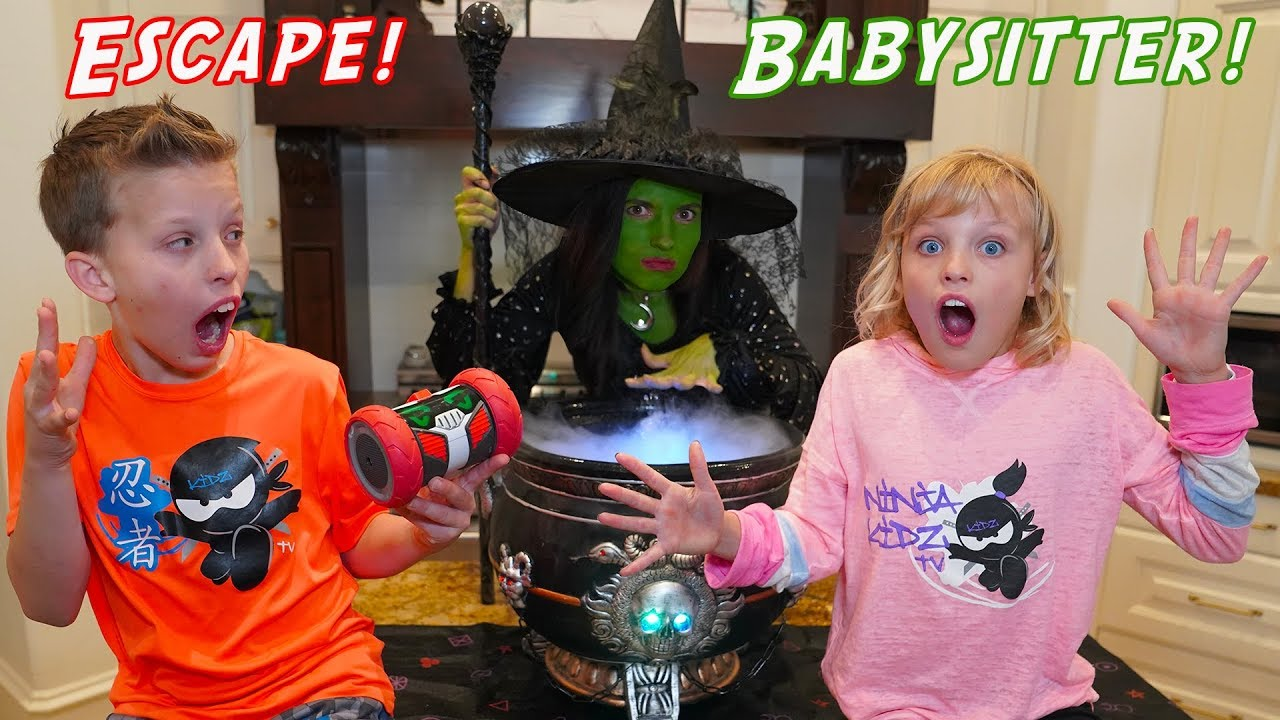 Download Escape the Witch Babysitter! Turbo Bot Team-up with Ninja Kidz Twins!