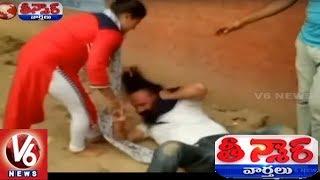 Brave Chandigarh Woman Thrashes Eve Teaser In Public | Teenmaar News | V6 News