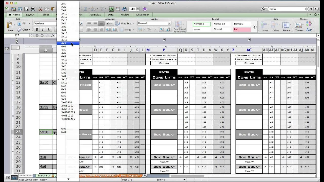 PT Fitness Excel Workout Template from Excel Training Designs ...