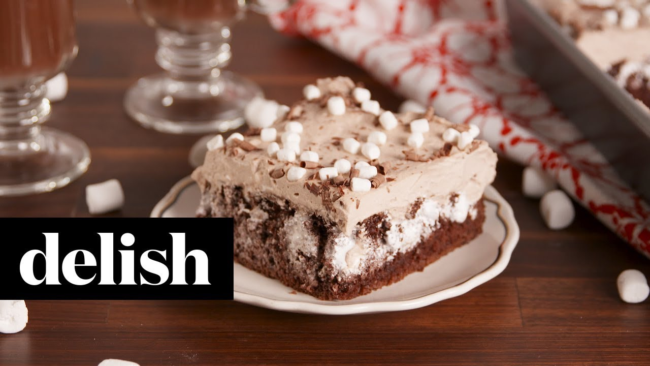 Hot Cocoa Poke Cake | Delish - YouTube