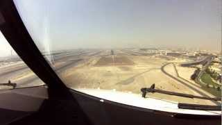 Dubai Approach and Landing. Cockpit View.