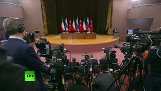 Putin, Rouhani & Erdogan address media after Syria talks in Sochi