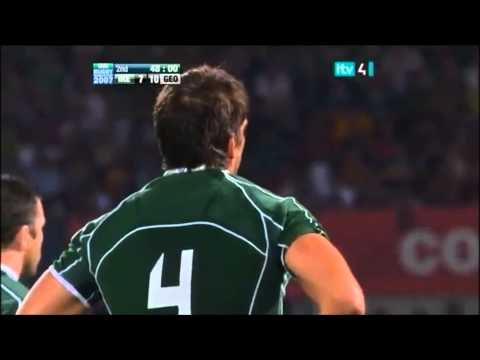 Donncha O'Callaghan mad dive over top of ruck vs Georgia 2007