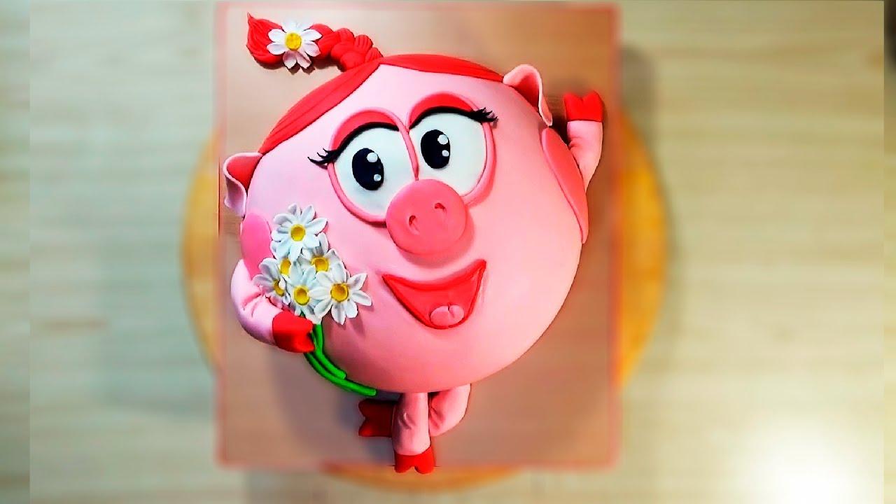 Прикрепляем косичку и докрашиваем тортик. Торт из мастики «Нюша» готов....