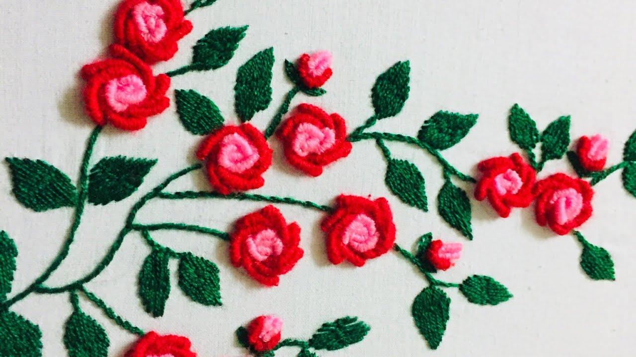 Hand Embroidery Fantasy Rose Flower Design By Nakshi Design Art