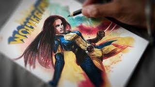 Drawing X-23   SKETCH COVER Art   LONDON SUPER COMIC CON 2017