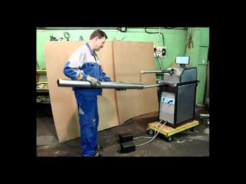 Сварка трубы диаметром 85 мм длиной 1200 мм с помощью аппарата точечной сварки.
