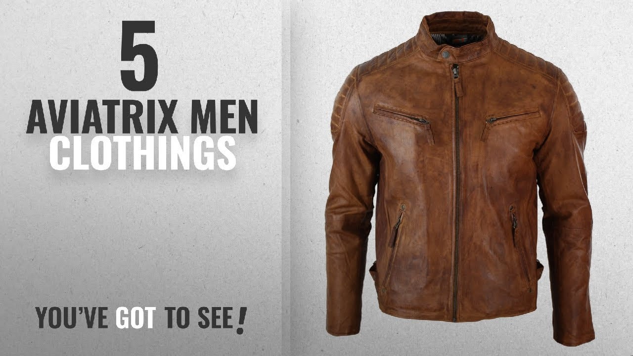 1f59588ae Top 10 Aviatrix Men Clothings [ Winter 2018 ]: Mens Slim Fit Retro Style  Zipped Biker Jacket Real