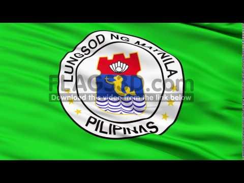 Manila City Close Up Waving Flag